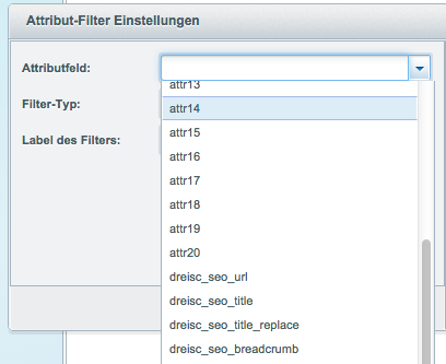 Attribute-Filter-Einstellungen