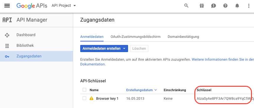 Erstellter-Google-API-Schlussel