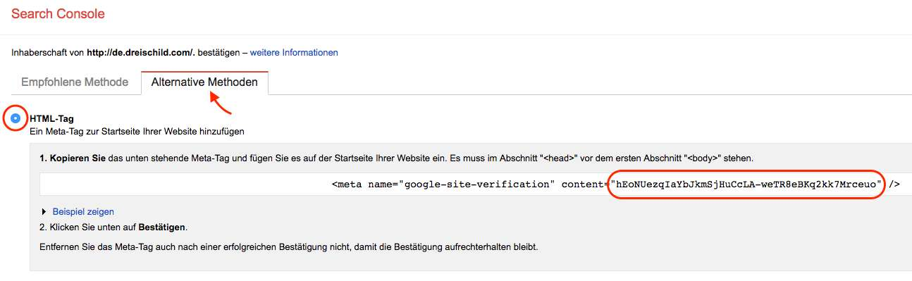 Google-Search-Console-HTML-Tag-Code-ermitteln