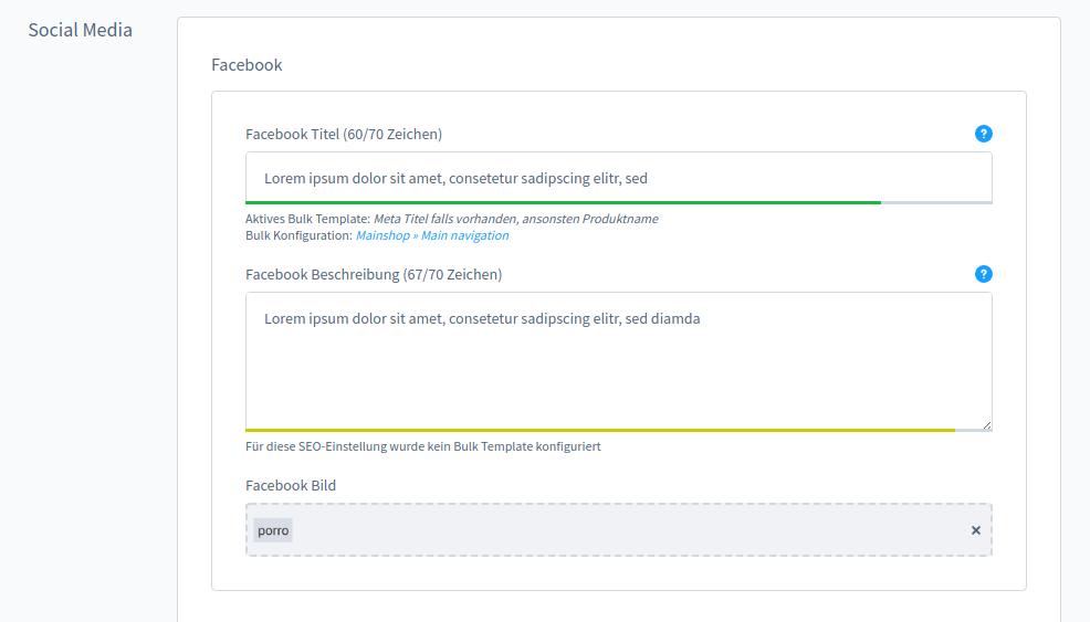 Verfügbare Facebook OpenGraph Einstellungen